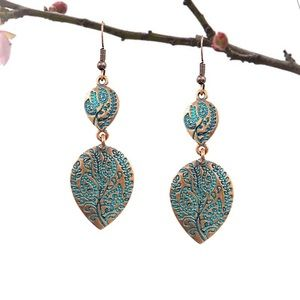 Antique Bronzed Etched Turqs & Boho Leaf Earrings